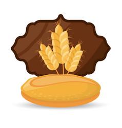 Bread wheat food breakfast badge vector