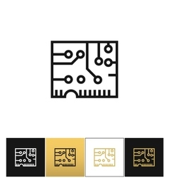 Electronics computer circuit chip icon vector image