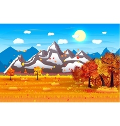 Nature landscape forest mountains field sun vector
