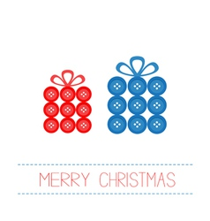 Blue red gift boxes made from buttons Christmas vector image vector image