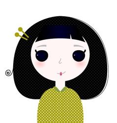 Cute beautiful little japanese cartoon Girl vector image