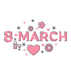 Digital pink 8 march vector