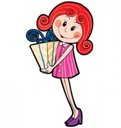 girl and gift vector image vector image