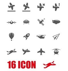Grey airplane icon set vector