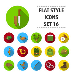 hunting set icons in black style big collection vector image