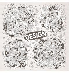 set of doodle design theme items vector image