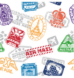 set of vintage postage mail stamps isolated vector image vector image