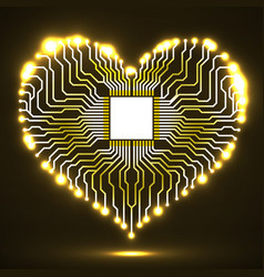 abstract neon electronic circuit board in shape of vector image vector image