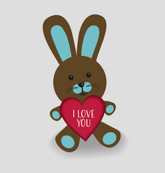 blue bunny with heart i love you vector image vector image