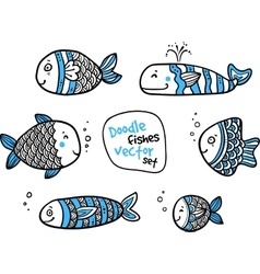 Set of black and white fishes in doodle ink style vector image