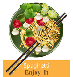 spaghetti plate realistic healthy gourmet vector image