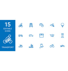 15 transport icons vector