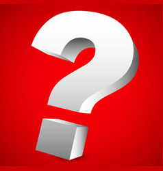 3d red question mark graphics for related vector