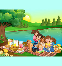 A family picnic in park vector
