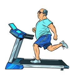 An elderly fat man treadmill sports equipment for vector