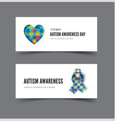 autism awareness day banner with heart colorful vector image