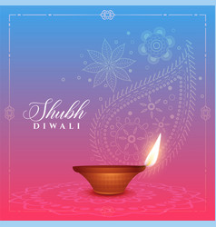 beautiful diwali background with diya and paisley vector image