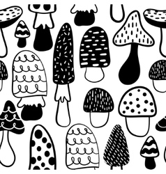 Black and white modern mushroom seamless pattern vector image