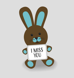 Blue bunny with message i miss you vector