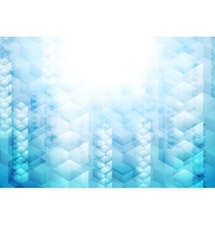 Bright blue tech geometric background with cubes vector image