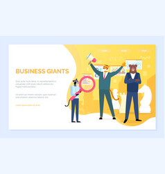Business giants hipster animals with glass web vector