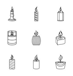 Candlelight icons set outline style vector