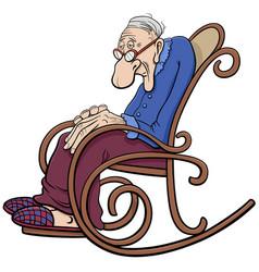 Cartoon senior in rocking chair comic vector