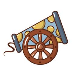 Cast-iron cannon icon cartoon style vector