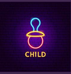 child neon label vector image