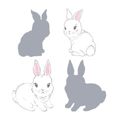 collection hand drawn rabbits realistic sketch vector image