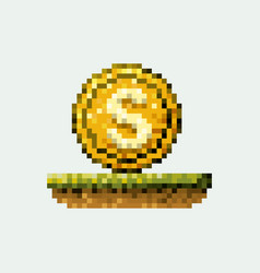 Color pixelated coin with symbol in meadow vector