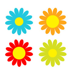 colorful daisy chamomile icon set cute flower vector image