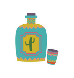 colorful tequila bottle with cartoon vector image