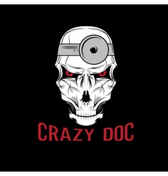 Crazy doctor skull vector