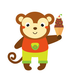 cute monkey holing ice cream cartoon animal for vector image