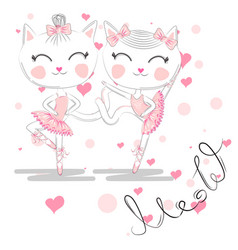 Cute white cartoon cat in ballet tutu kitty girl vector