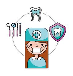Dentist woman tooth tools hygiene dental vector