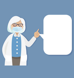 Doctor with medical mask shows a list vector
