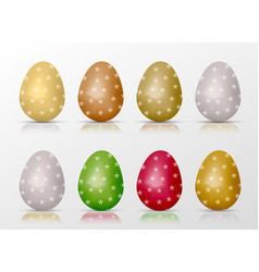 easter realistic colorful eggs set with star fill vector image