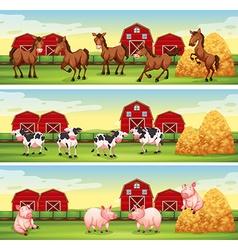 Farm animals in farmyard vector