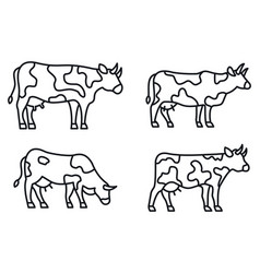 farm cow icons set outline style vector image