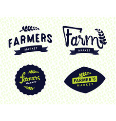farmers market logos templates objects set vector image