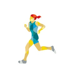 Female Triathlete Marathon Runner Low Polygon vector image
