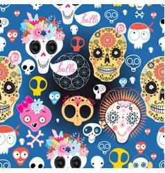 festive pattern funny skulls vector image