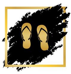 Flip flop sign golden icon at black spot vector