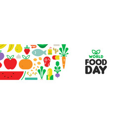 food day web banner with fruit and vegetable icons vector image