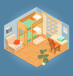 fragment of interior with isometric furniture se vector image