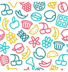 Fruit seamless pattern in thin line style vector