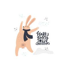 Funny rabbit hand drawn flat color vector