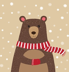 Hand drawn of cute bear wearing red scarf vector
